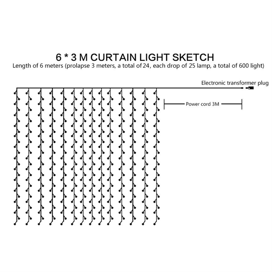 6m x 3m 600led warm white fairy curtain light for