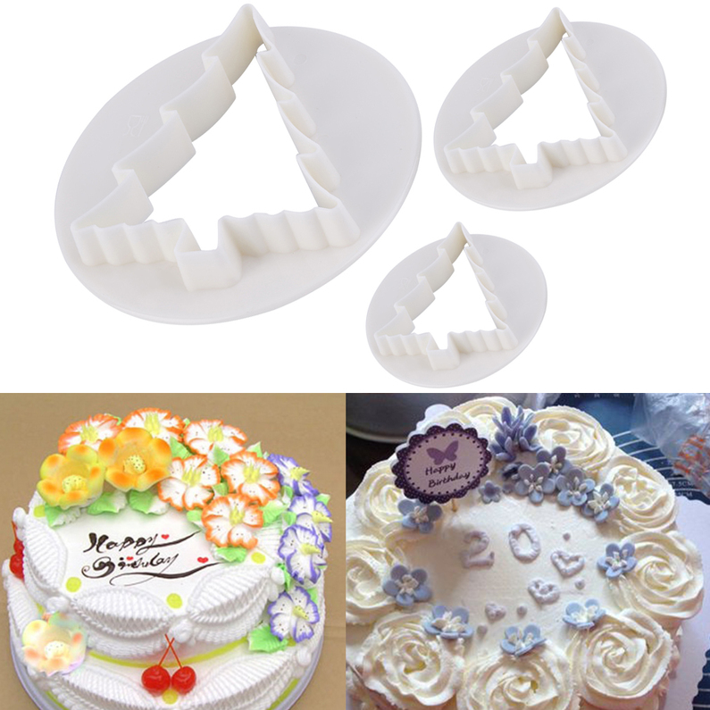 Cake Decorating Christmas Cutters : 3Pcs Christmas Tree Cake Decorating Paste Cookie Mold ...