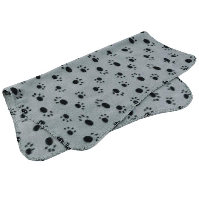 Paw Print Dog Cat Mat Puppy Fleece Soft Blanket Beds