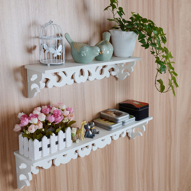 Wall Shelf Home Decor : Pvc board white carve display wall shelf rack storage