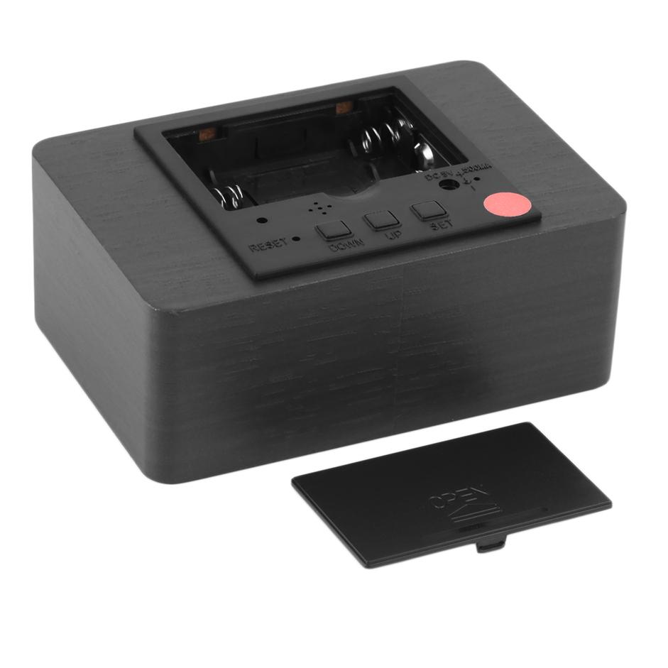 small modern red led display temperature digital wood. Black Bedroom Furniture Sets. Home Design Ideas