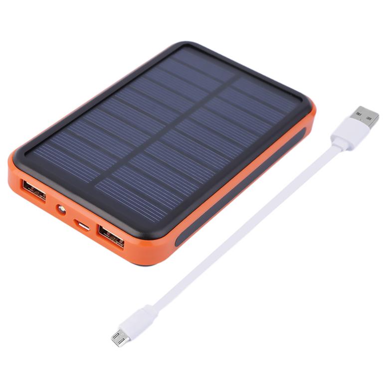 Large Capacity Waterproof Portable Solar Power Bank Dual USB Solar Charger UL