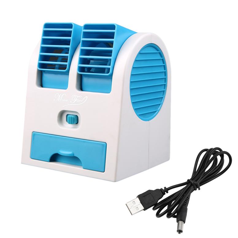 Mini Air Conditioner Portable Desktop Dual Bladeleqt Usb