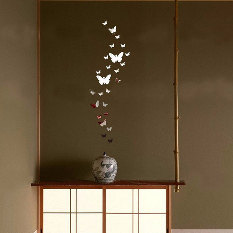 Butterfly Mirror Wall Decoration : Pcs romantic butterfly mural mirror wall stickers room