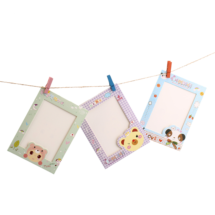 9pcs 6 Cartoon Animal Hanging Album Photo Frame Clips Rope: rope photo frame
