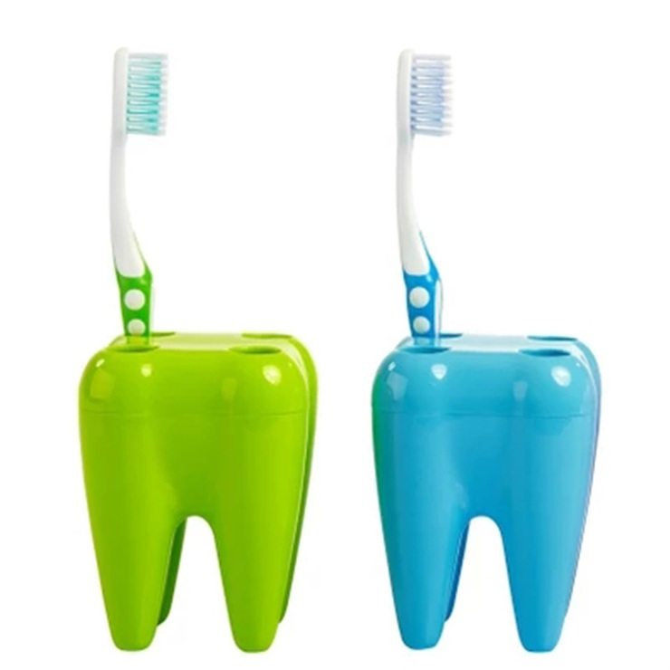 Bathroom Utilities creative teeth shape 4 holes toothbrush cup holder stand bathroom