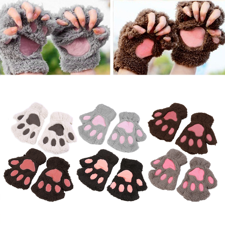 Lovely Women Cat Claw Paw Mitten Plush Glove Costume Gift Winter Half Finger XL