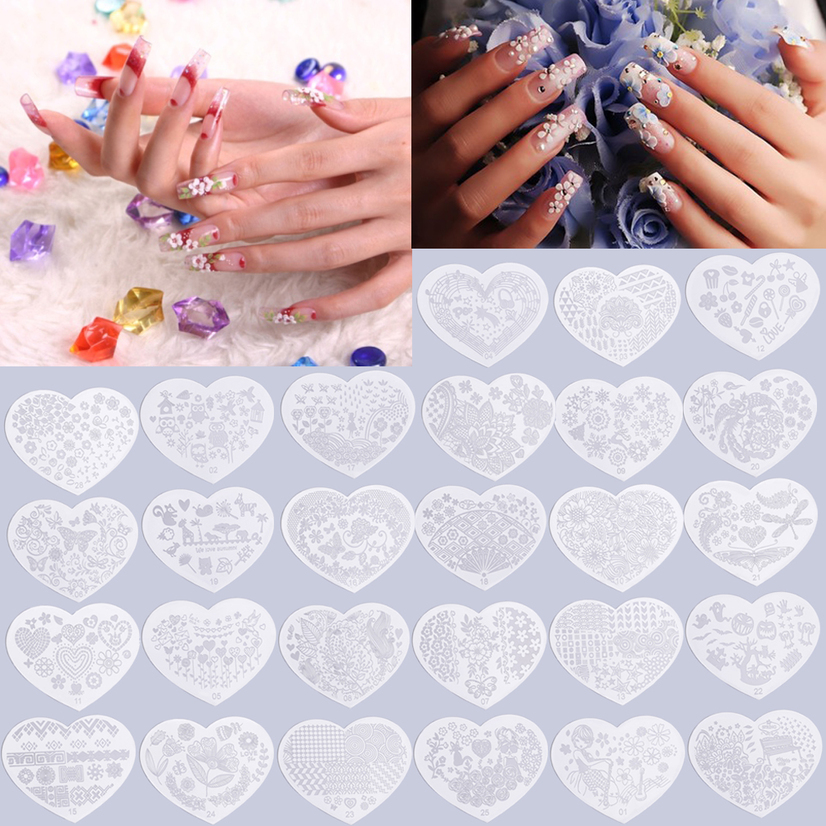 Heart Shape Nail Art Printing Plate Image Stamping Plates Manicure ...