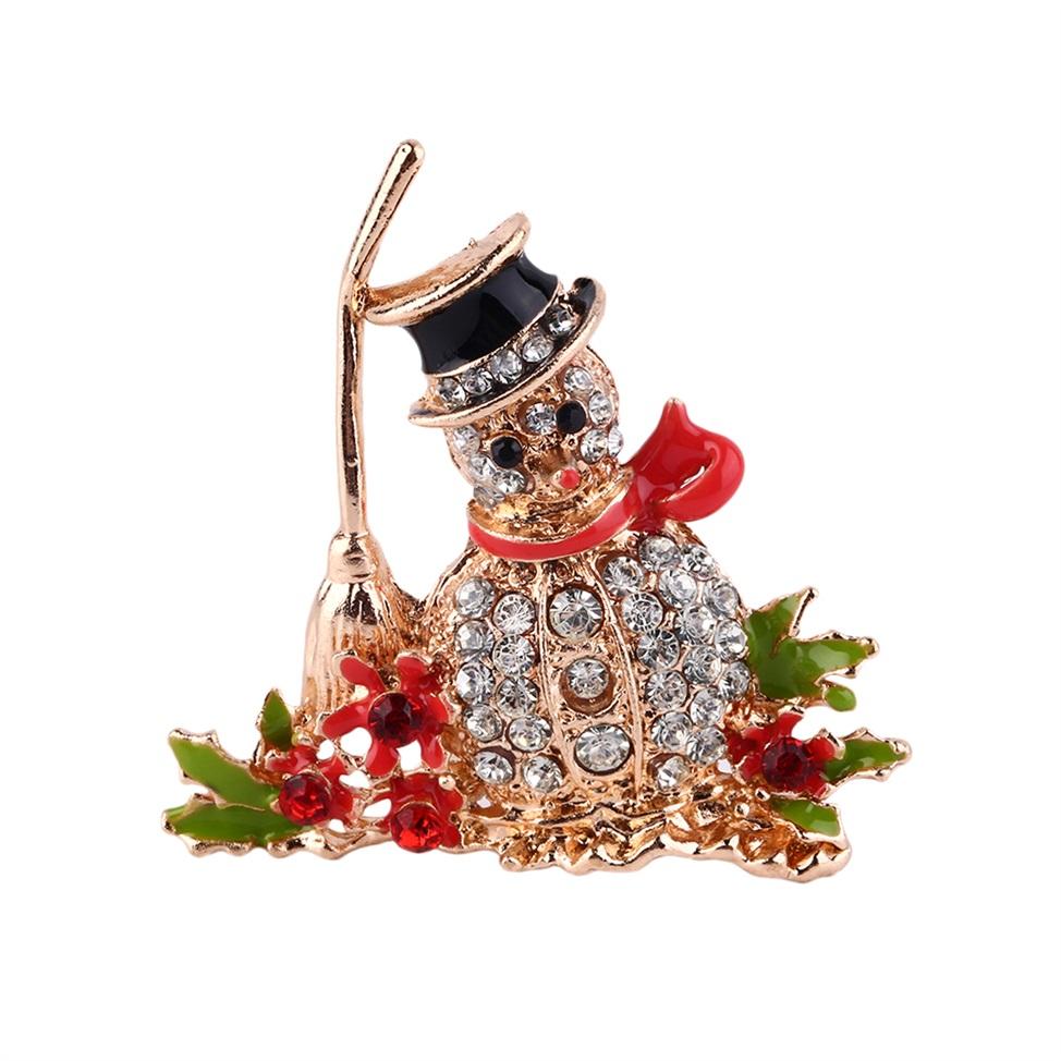 Gorgeous crystal rhinestone christmas snowman brooch pin
