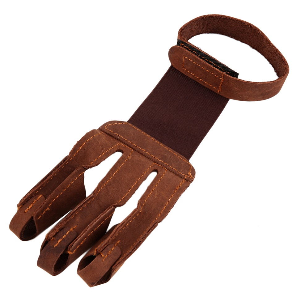 Archery finger protect glove 3 finger pull bow arrow leather shooting gloves CL