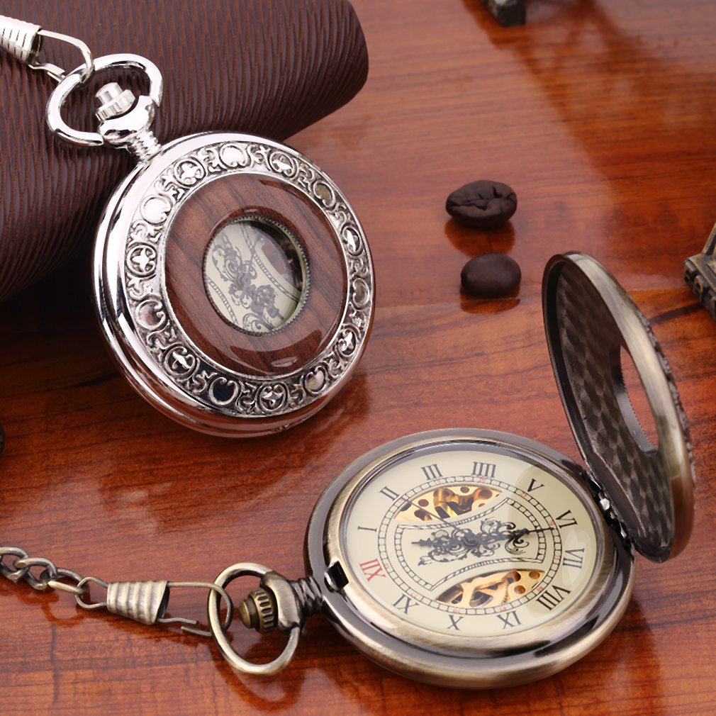 Men Women Antique Retro Vintage Pocket Mechanical Watch Chain Bronze Silver PB