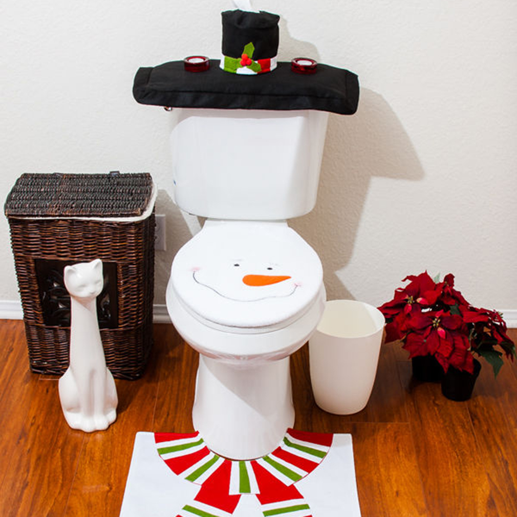 decorations happy santa toilet seat cover rug bathroom set snowman