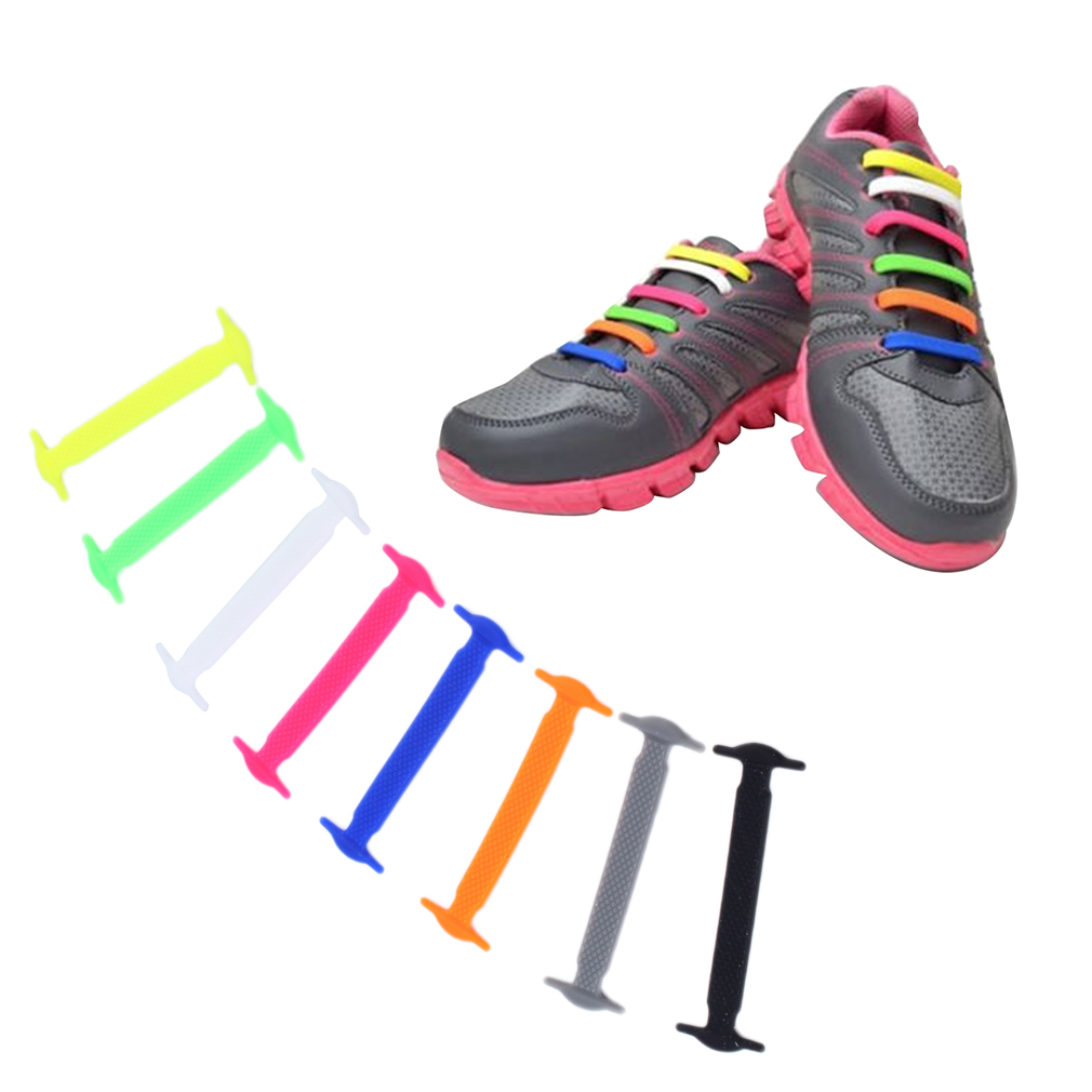1 set 16pcs novelty no tie shoelaces elastic silicone shoe