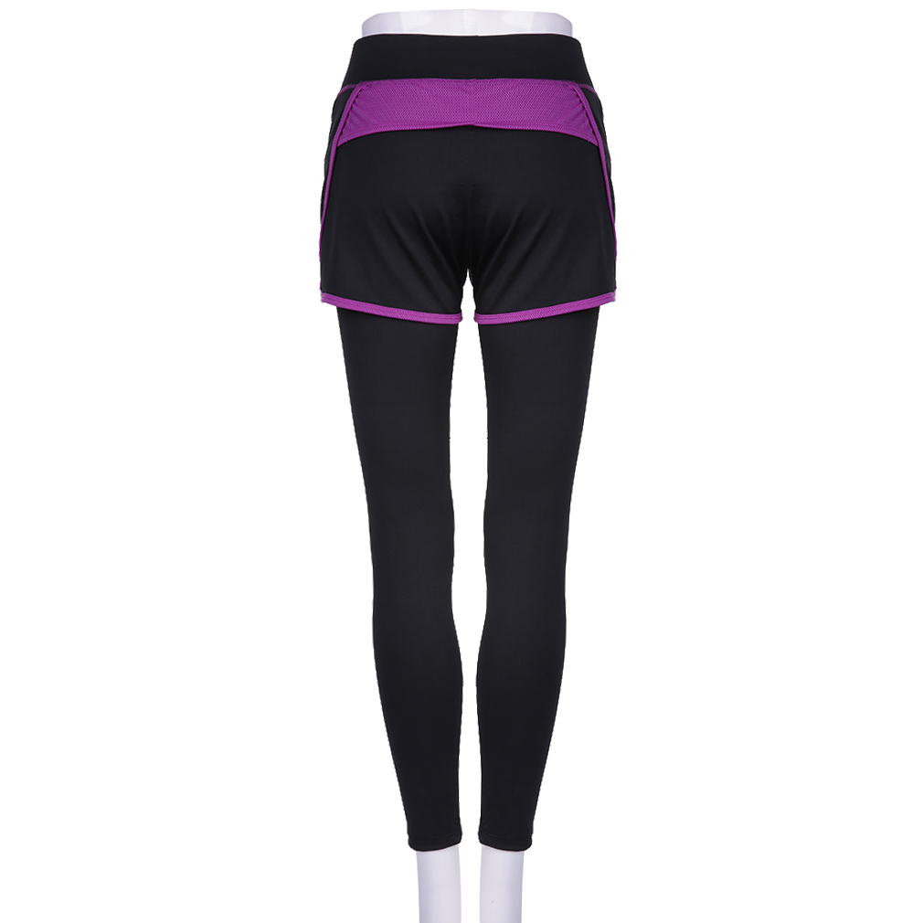 Women Long Yoga Pants With Attached Mini Skirt Sports Gym
