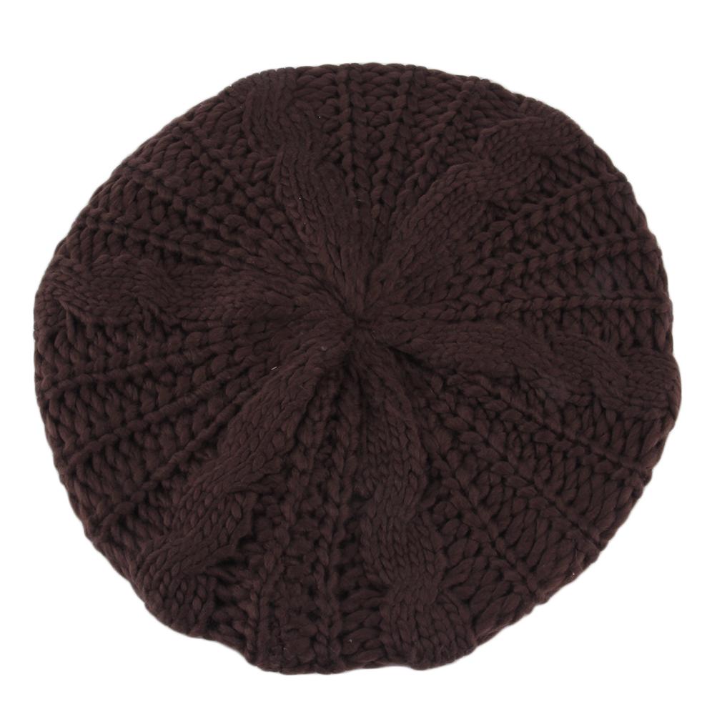 womens winter knit crochet ski hat braided baggy beret