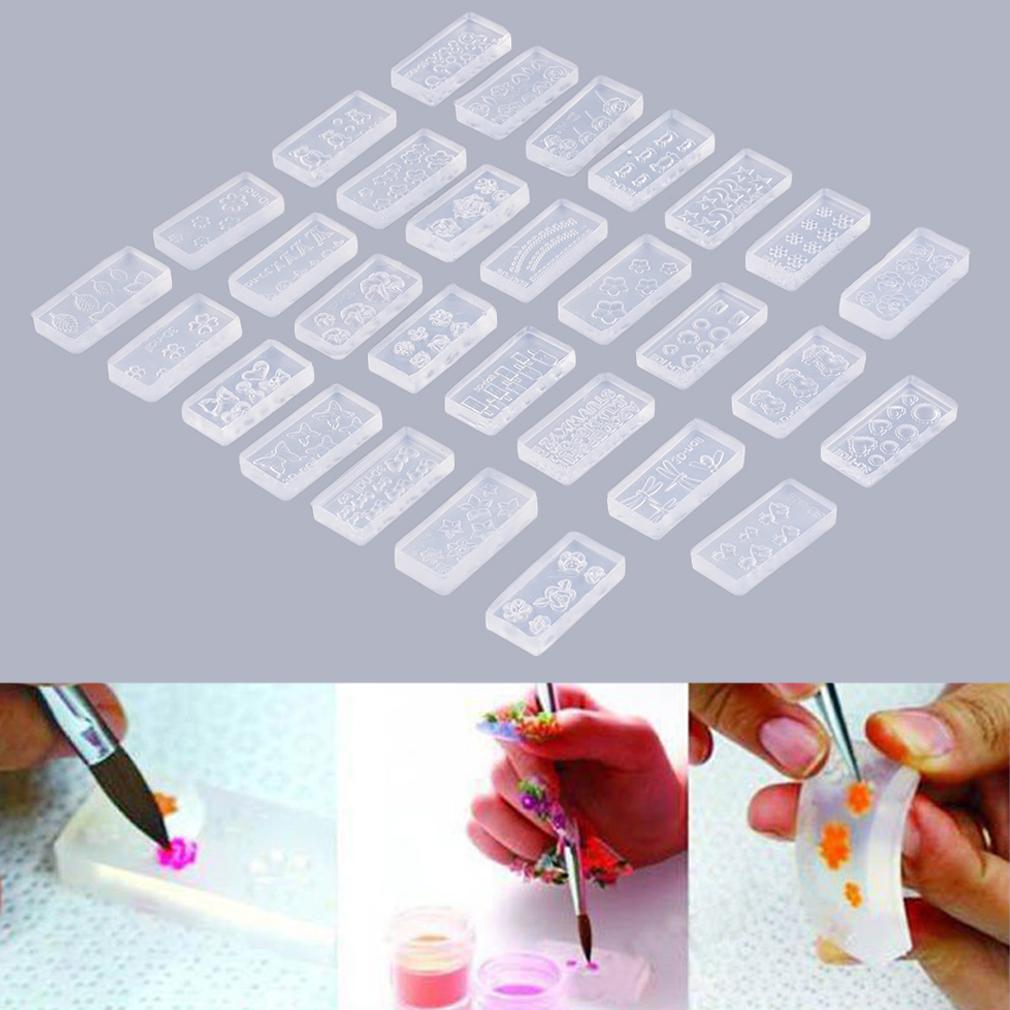 30pcs 3d acrylic nail art mold tips decor diy different for 3d acrylic nail art decoration
