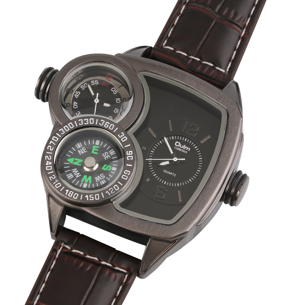 Oulm men quartz wrist watch compass function pu leather band outdoor gift oe ebay for Watches with compass