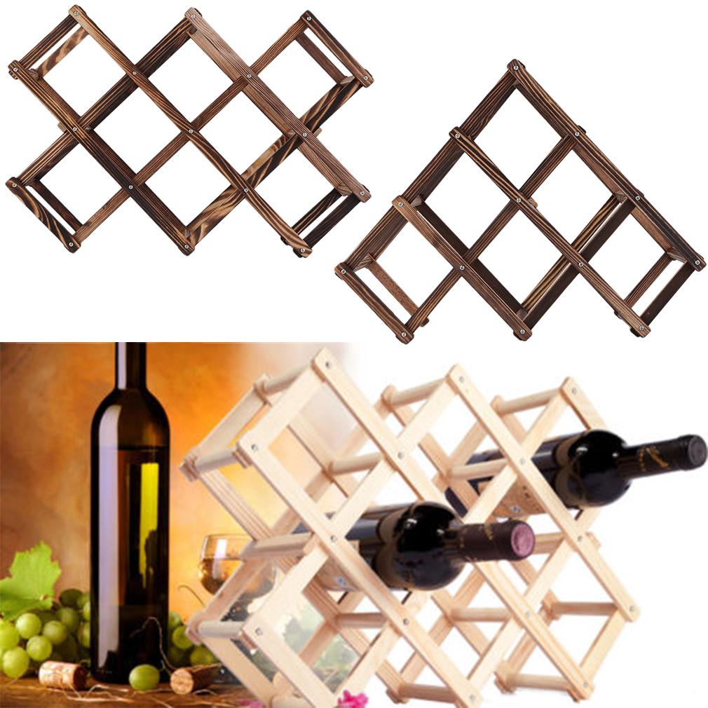 Wooden Red Wine Rack 3/6/10 Bottle Holder Mount Kitchen Bar Display Shelf AA