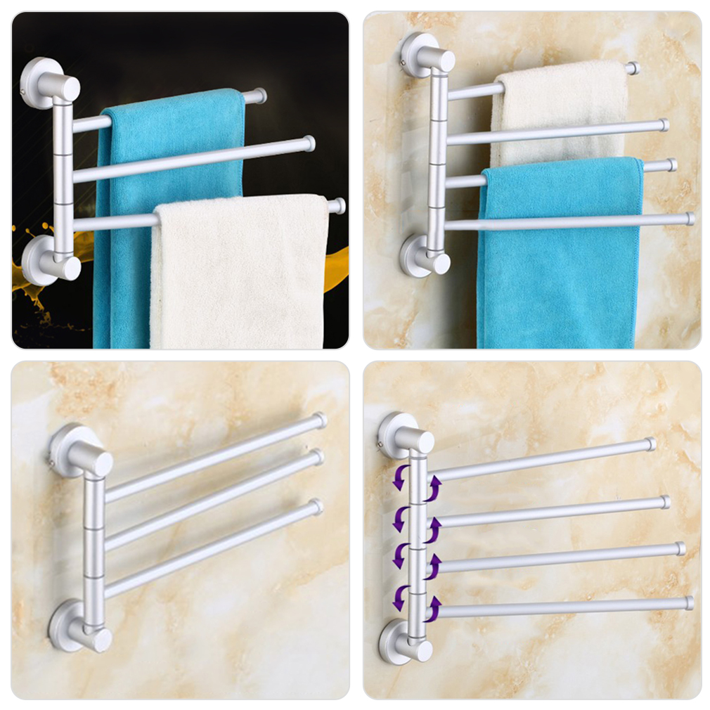 wall mounted aluminum bath towel holder swivel bathroom rack rail hanger oe ebay. Black Bedroom Furniture Sets. Home Design Ideas