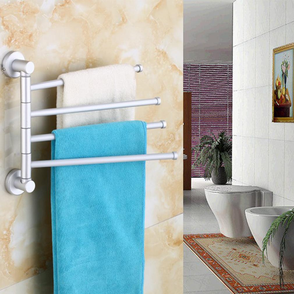 Wall Rack For Bathroom : about Wall Mounted Aluminum Bath Towel Holder Swivel Bathroom Rack ...