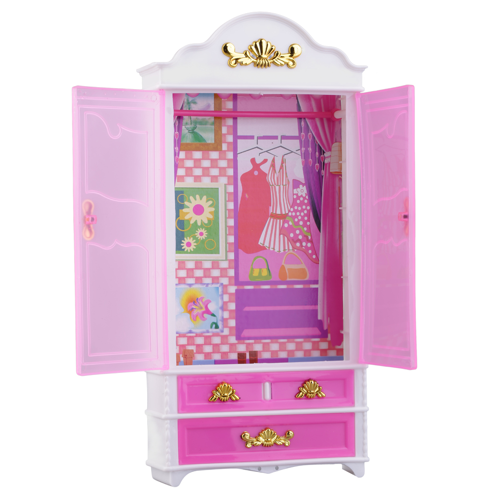 pink closet wardrobe for princess doll house bedroom furniture miniature jl ebay. Black Bedroom Furniture Sets. Home Design Ideas