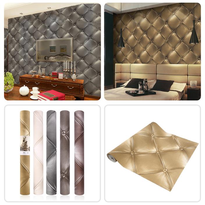 10m Textured Wallpaper 3d Leather Look Modern Wall Decor