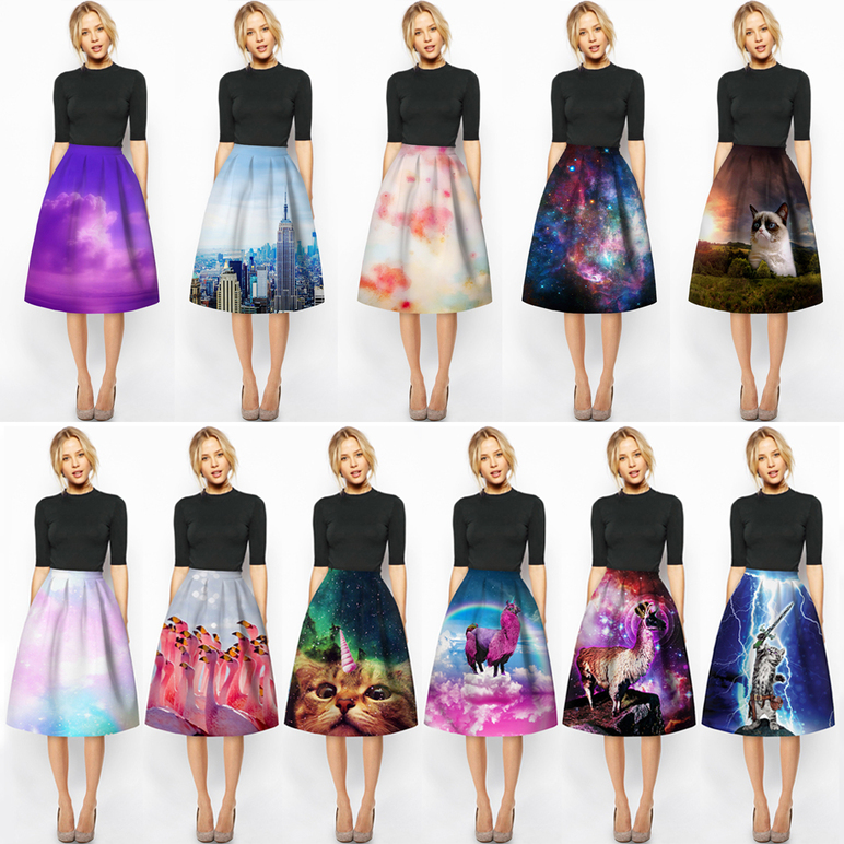 Fashion Women Digital printing Dresses Plaid Party Elegant Evening Classic D