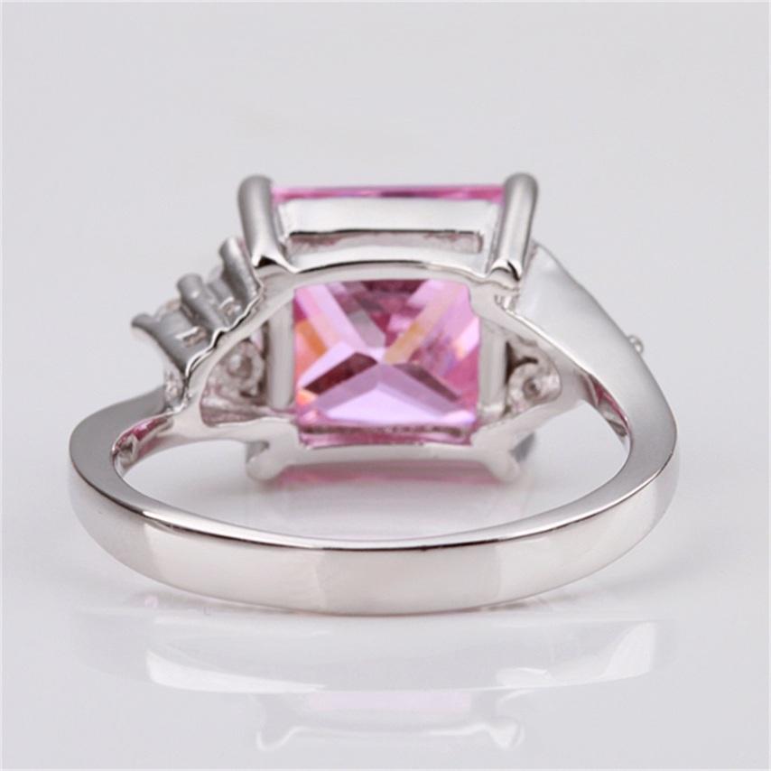 platinum plating suqare pink rhinestone