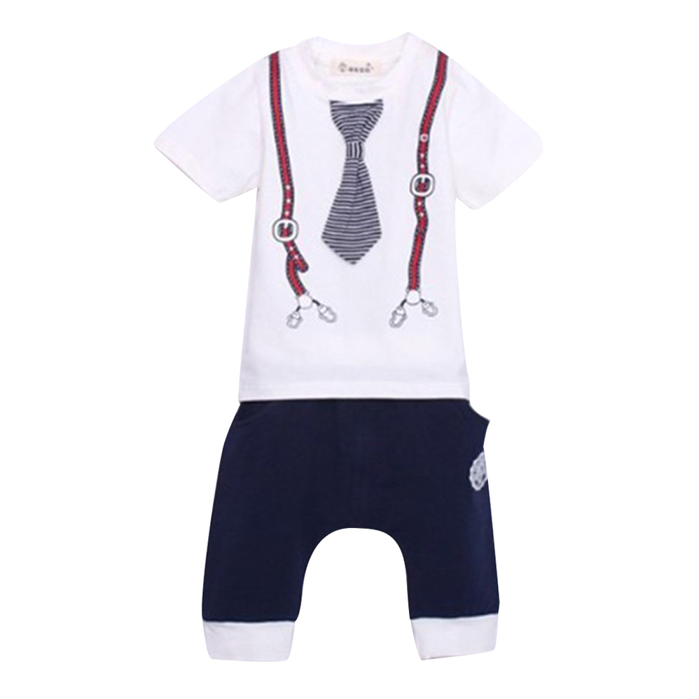 Cool Cotton Kids Baby Boys Tie Top T-Shirt+Short Pants Sets Sport Outfit 1-5Y ZD | EBay