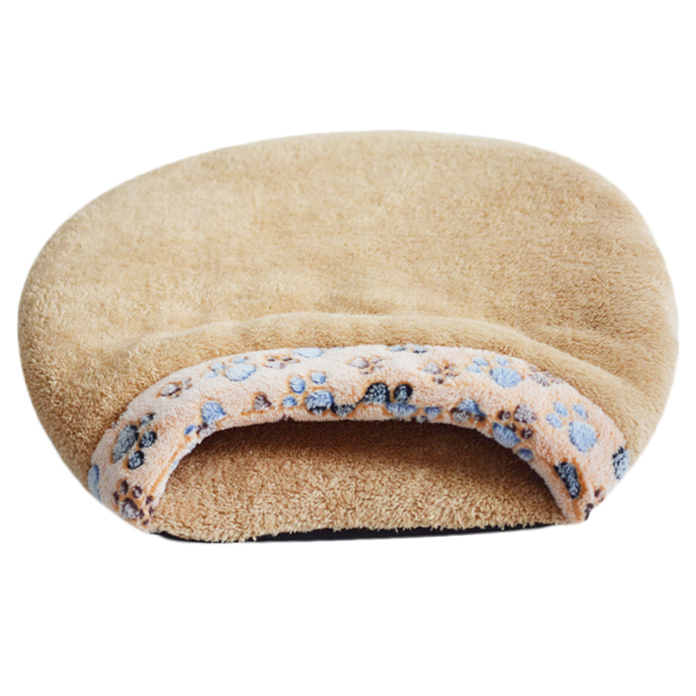 warm pet puppy dog cat bed house cushion half covered bed