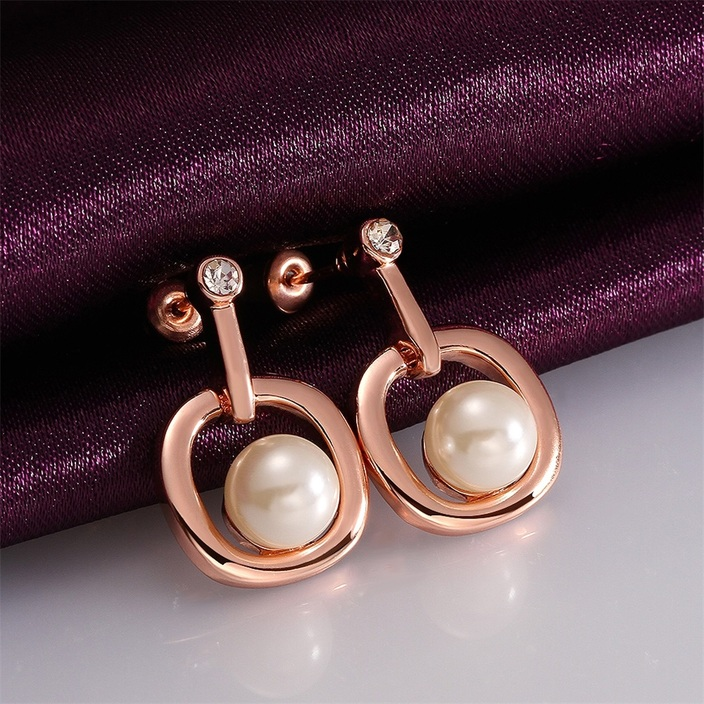 Fashion-Simulated-Pearl-Simple-Round-Shaped-Rose-Gold-plated-Earrings-QC