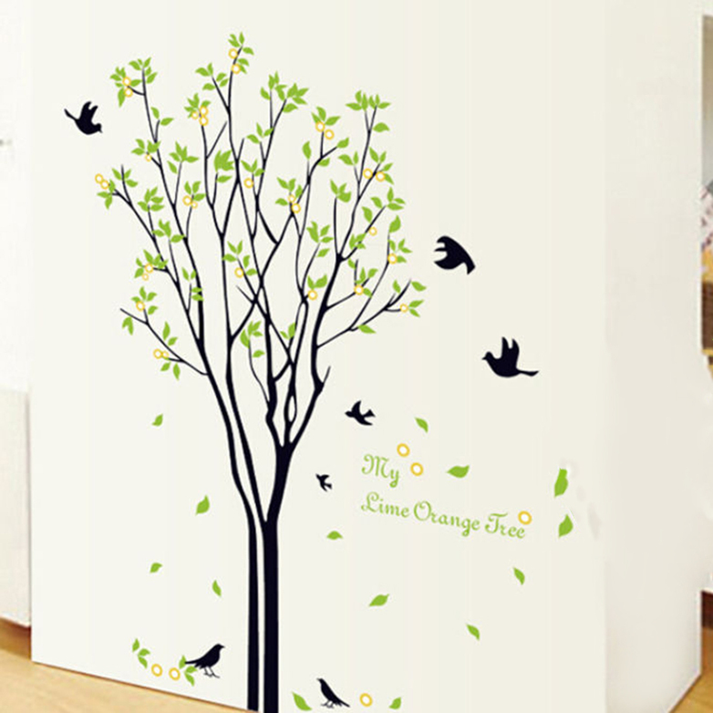 Tree bird quote removable wall decal mural home art diy for Diy tree wall mural