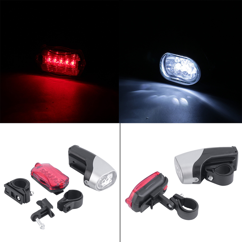 6LED Bicycle Bike Cycling Front Headlight+5 LED Rear Tail Light Lamp Set EF