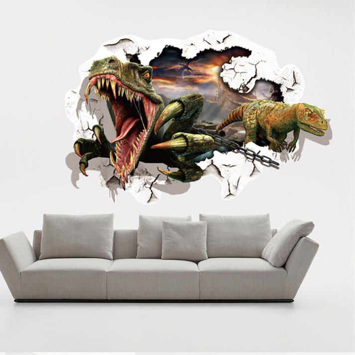 Image Is Loading Removable Dinosaur 3D Breakthrough Wall Decals Kids Room  Part 92