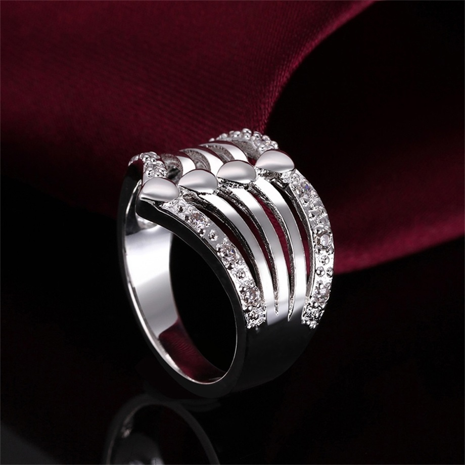 new unique multi layers rings silver plating finger ring