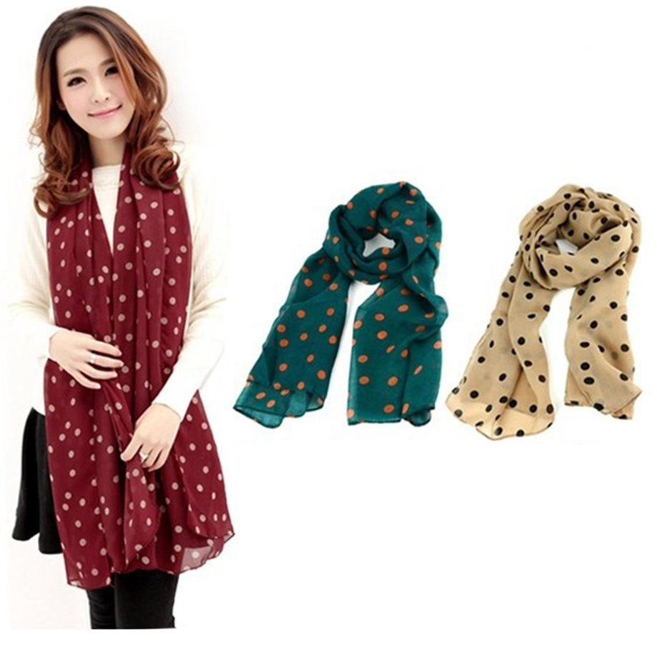 Women Grid Polka Dot Pattern Long Chiffon Soft Silky Wrap Shawl Scarves F5