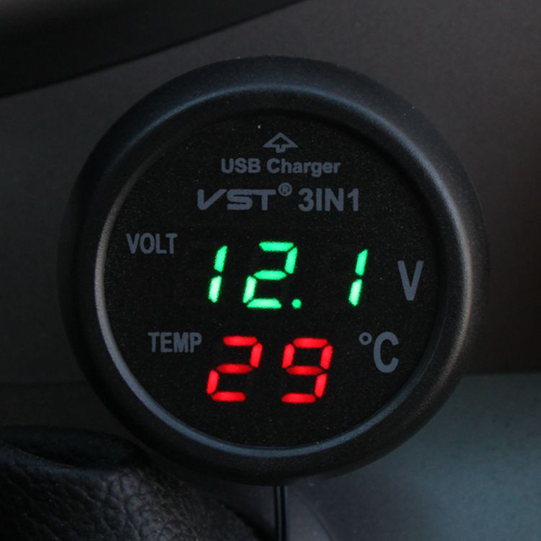 Multifunction Car Digital Voltmeter Thermometer USB Car Charger 3 in1NG