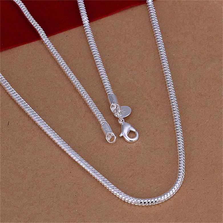 16-24in 3mm Women's Men's Snake Chain Necklace Long Silver Plated Classic F7Q