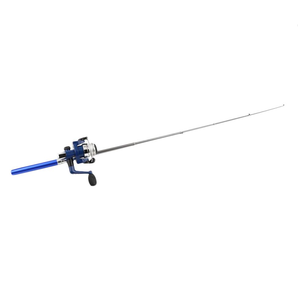Mini ice fishing pen rod shaped fishing tackle kit wheel for Ice fishing hooks