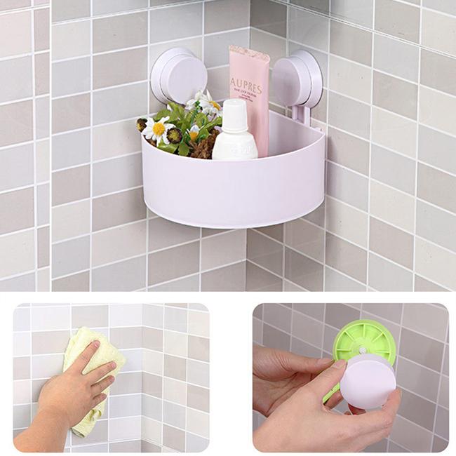 Rack Organizador De Baño:Cuarto de baño de plástico Corner Rack de almacenamiento Organizador