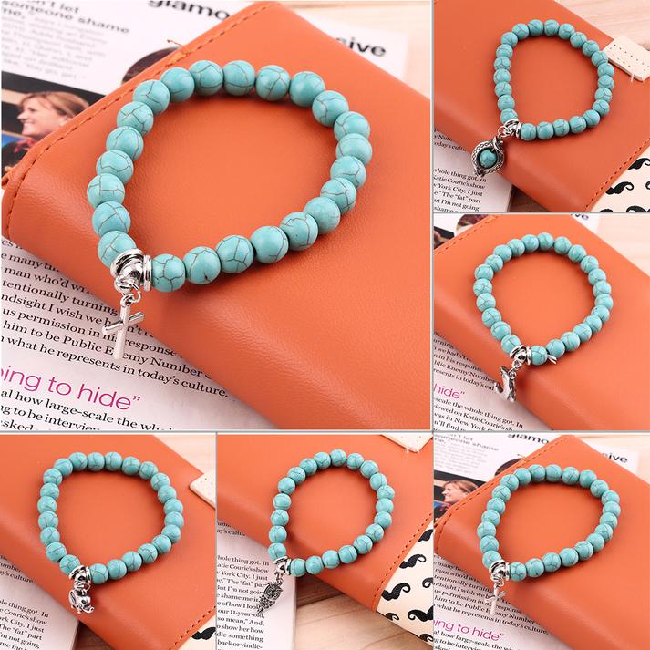Vintage Retro Turquoise Bead Mixed Charm Bracelet Stretch Bangle Gift GA