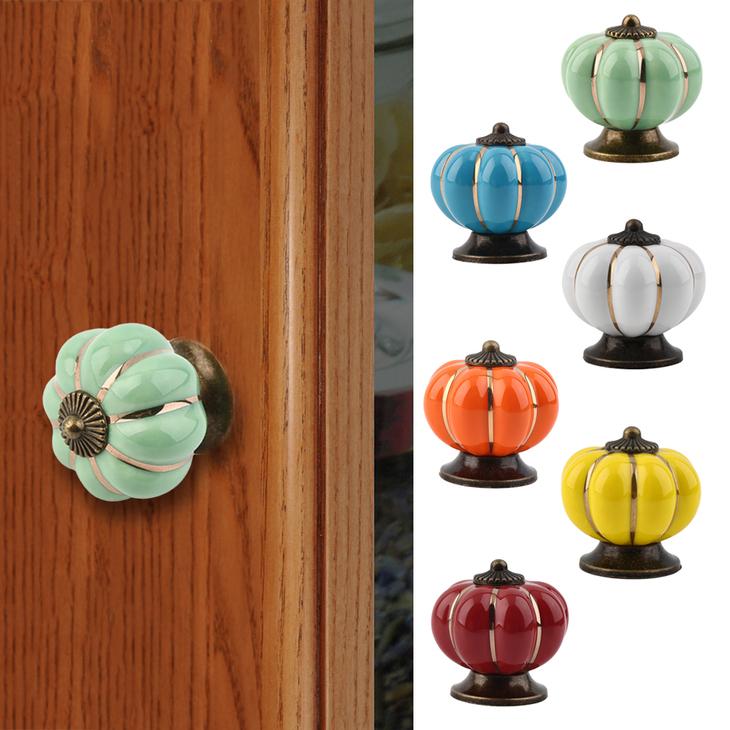 4mm Ceramic Pumpkin Retro Door Knobs Cabinet Drawer Locker ...