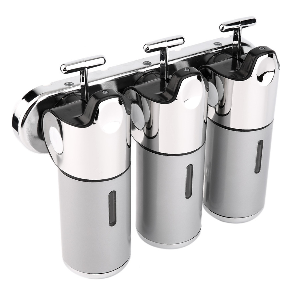Stainless Steel Bathroom Shampoo Soap Dispenser Wall