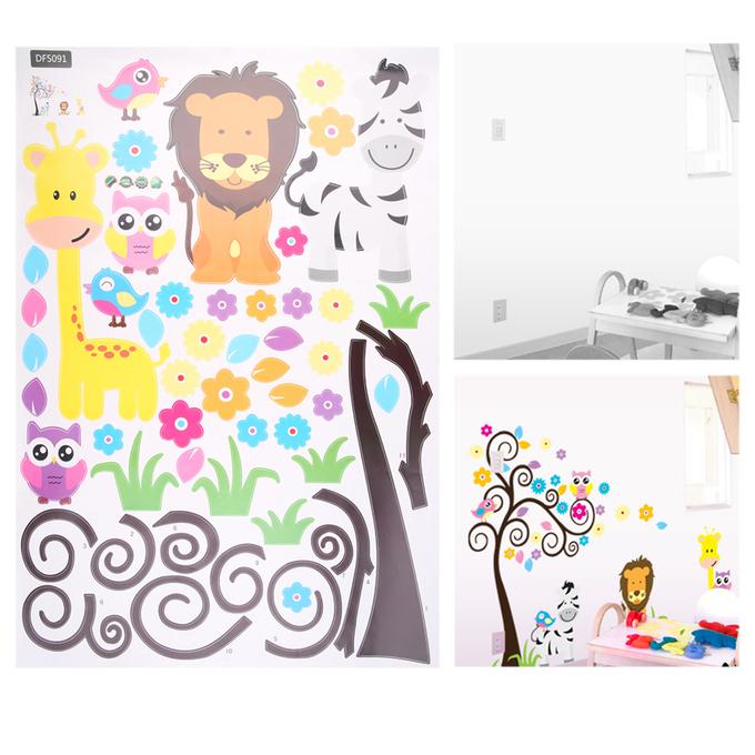 Cartoon tree mural vinyl decal wall sticker art kid for Cn mural designs