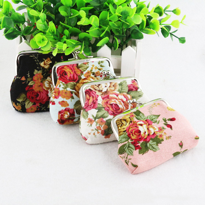 New Retro Women Cosmetic Bag Roses Floral Fabric Clip Package Coin Hand Purse I5