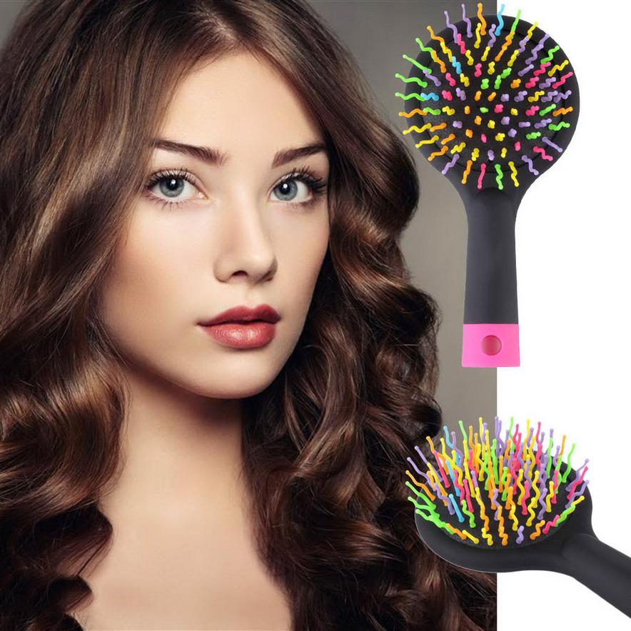 Rainbow Volume Anti-static Hair Curl Straight Massage Comb Brush Mirror P5