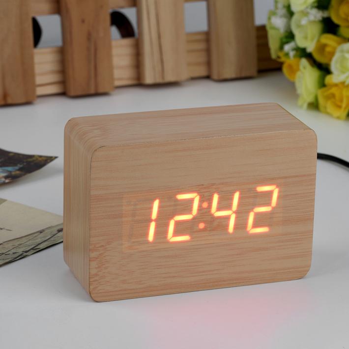 mini modern red led display temperature digital wood wooden