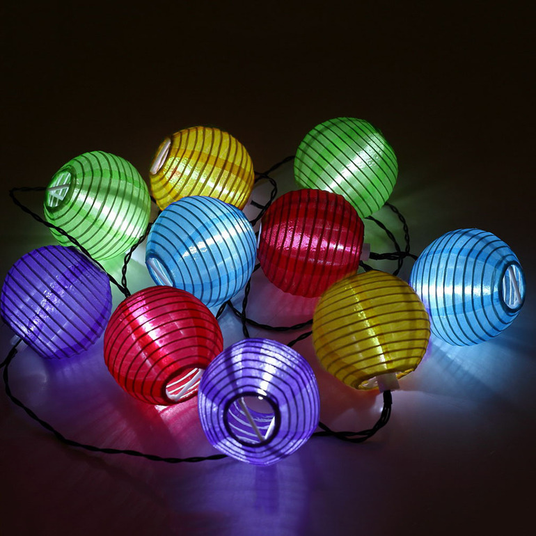 Solar Power 10LED Lantern Fairy Multicolor Lights String Party Garden Xmas SM eBay