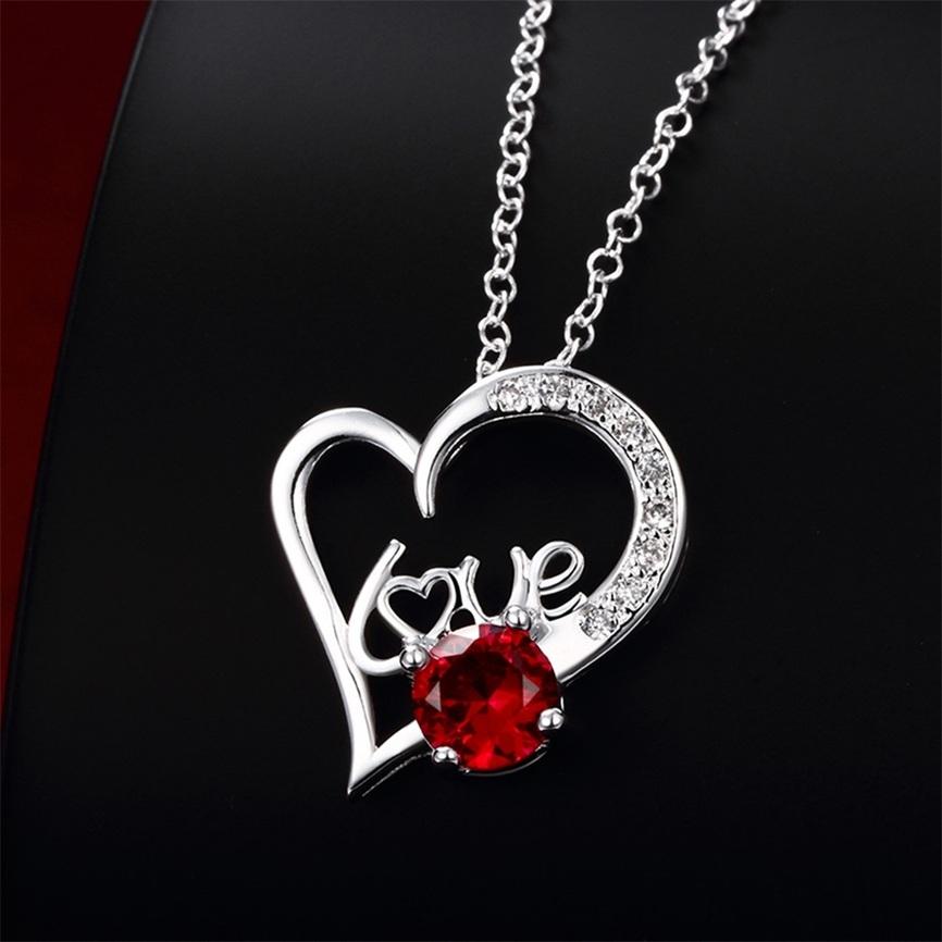 New Fashion Women Jewelry Necklace Love Heart Zircon ...