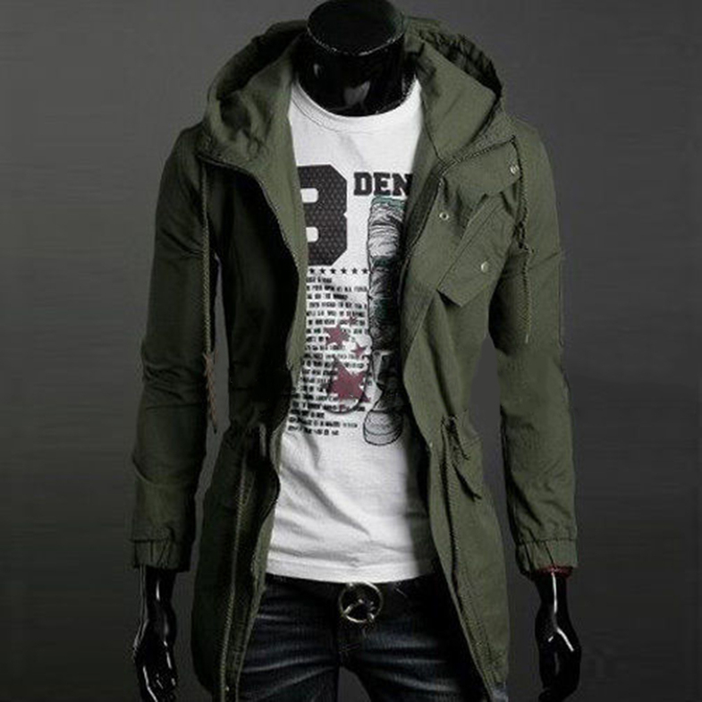 Mens Slim Fit Coat Hoodies Coat Long Parka Trench Coat Hooded ...